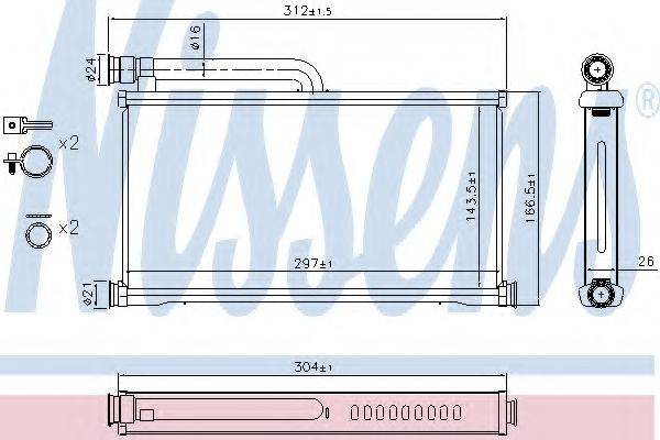 Теплообменник, отопление салона NISSENS 70233