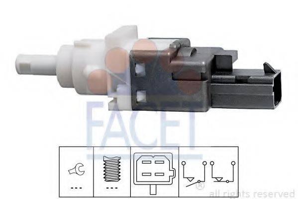 Выключатель фонаря сигнала торможения; Выключатель, привод сцепления (Tempomat) FACET 7.1161