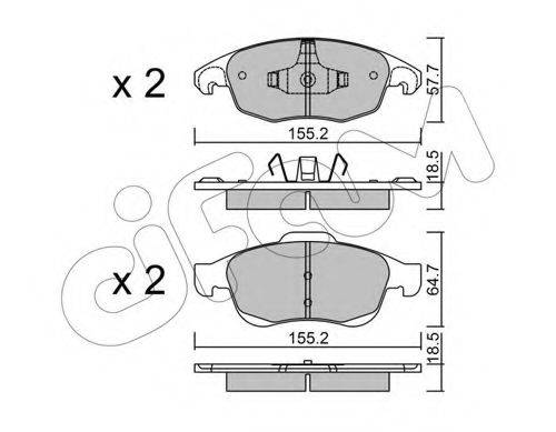 Комплект тормозных колодок, дисковый тормоз CIFAM 822-800-0