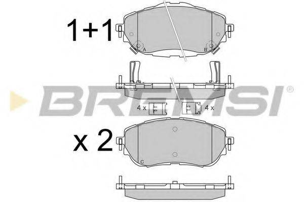 Комплект тормозных колодок, дисковый тормоз BREMSI BP3537