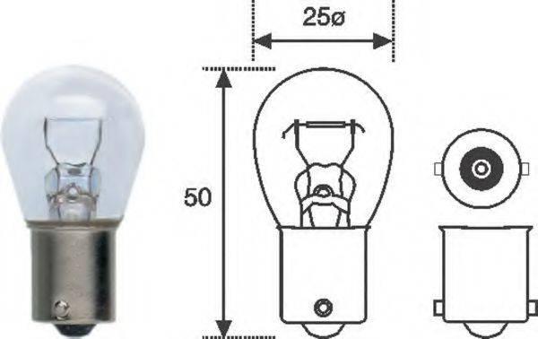 Лампа накаливания, фонарь указателя поворота; Лампа накаливания, фонарь сигнала торможения; Лампа накаливания, задняя противотуманная фара; Лампа накаливания; Лампа накаливания, фара заднего хода MAGNETI MARELLI 008506100000