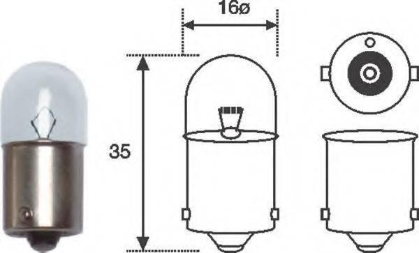 Лампа накаливания, фонарь освещения номерного знака; Лампа накаливания, oсвещение салона; Лампа накаливания, стояночные огни / габаритные фонари; Лампа накаливания MAGNETI MARELLI 004007100000